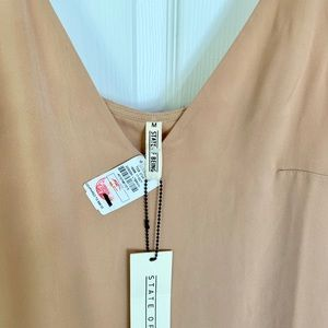 state of being Dresses - Tan cami dress with white slip